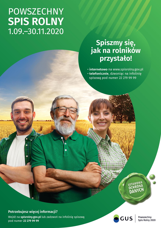 Plakat informujący o Spisie Rolnym
