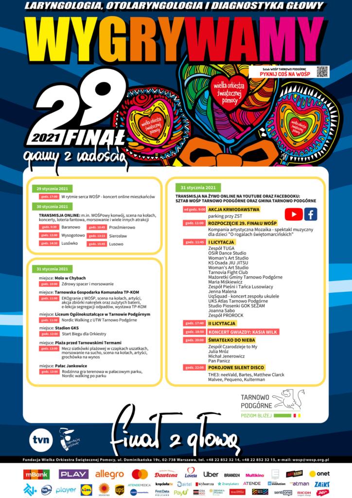 Plakat informujący o 29. Finale WOŚP w Gminie Tarnowo Podgórne