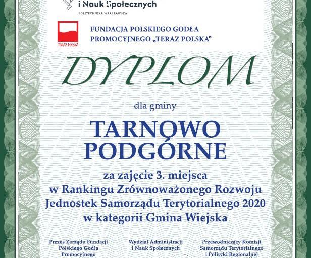 Dyplom za zajęcie trzeciego miejsca w rankingu zrównoważonego rozwoju dla Gminy Tarnowo Podgórne