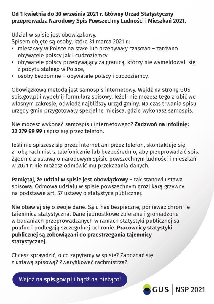 Plakat informujący o Narodowym Spisie Powszechnym 2021