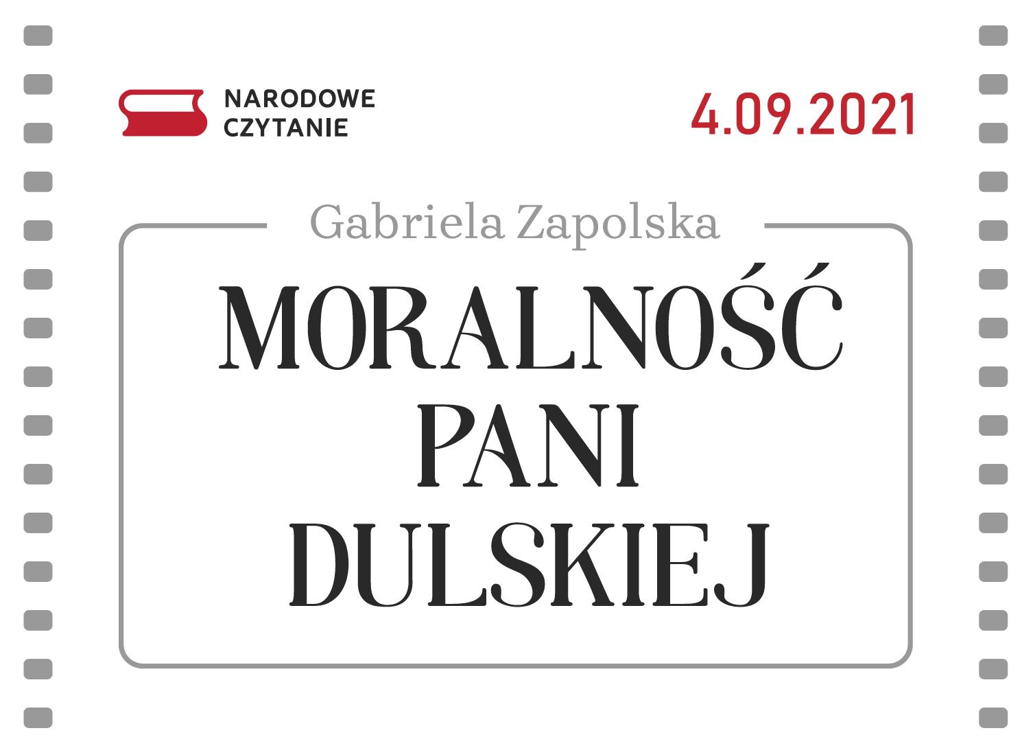 Baner Narodowego Czytania 2021 - 4 września 2021, Moralność Pani Dulskiej - Gabriela Zapolska